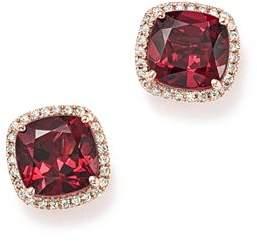 Bloomingdale's Cushion-Cut Rhodolite Garnet and Diamond Halo Earrings in 14K Rose Gold - 100% Exclusive