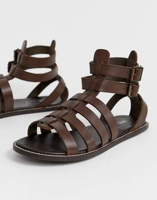 5072a0f21 Asos Design DESIGN gladiator sandals in brown leather