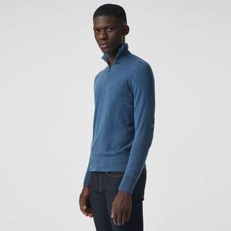 Burberry Zip-neck Cashmere Cotton Sweater , Size: XS, Blue