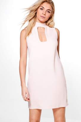 boohoo Choker Neck Plunge Shift Dress