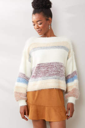 Gentle Fawn Fuzzy Color Block Sweater Whtm XS