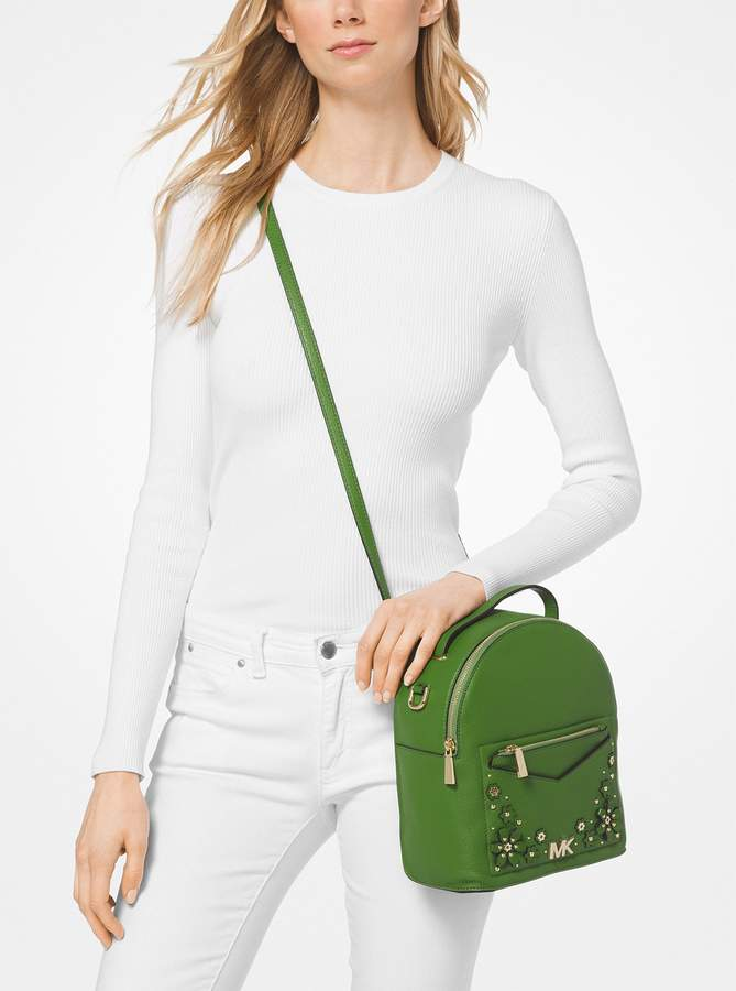 d92ca9c29ca7 Jessa Small Floral Embellished Pebbled Leather Convertible Backpack. by