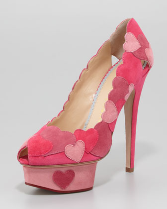 Charlotte Olympia Love Me Heart-Applique Pump, Fuchsia