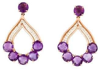14K Diamond & Amethyst Drop Earring