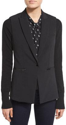 Veronica Beard Single-Button Scuba Vest, Black $695 thestylecure.com