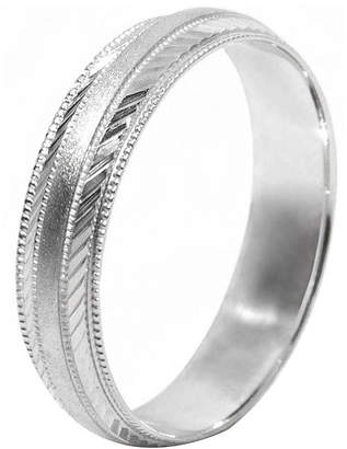 MODERN BRIDE Mens 10K White Gold 5mm Engraved Wedding Band