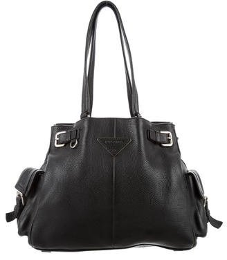 prada Prada Vitello Daino Side Pocket Tote