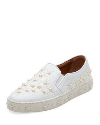 Aquazzura Cosmic Pearlescent Slip-On Skate Sneakers, White