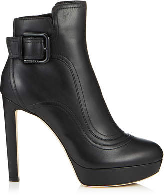 Jimmy Choo BRITNEY 115 Black Smooth Leather Platform Booties