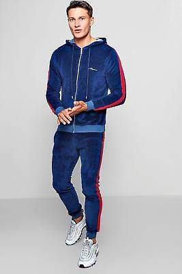 boohoo NEW Mens Skinny Fit MAN Velour Hooded Tracksuit in Cotton