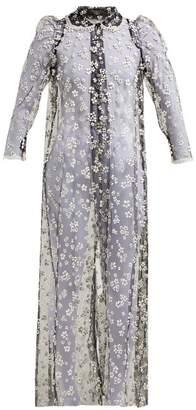 Biyan Royya Floral Print Tulle Coat - Womens - Black