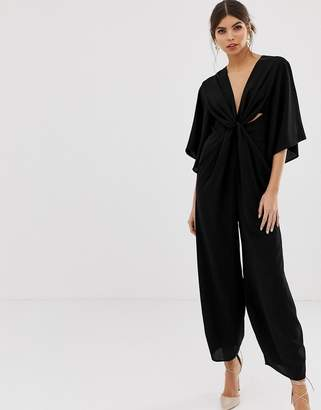 c609f8c4da4 Asos Design DESIGN kimono sleeve jumpsuit with twist front