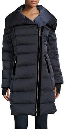 Vera Wang Asymmetrical Zip Puffer Down Coat $398 thestylecure.com