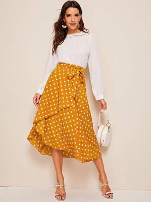 Shein Asymmetrical Wrap Belted Polka Dot Skirt