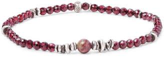 Peyote Bird Tourmaline, Garnet And Sterling Silver Bracelet