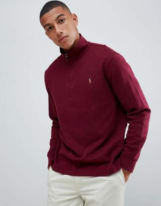 Polo Ralph Lauren half zip cotton knit jumper with multi player logo in burgundy