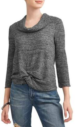 No Boundaries Juniors' Waffle Knit Twist Front Cowl Neck Sweater