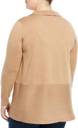 Neiman Marcus Ruffled-Front Ribbed-Hem Cardigan, Plus Size