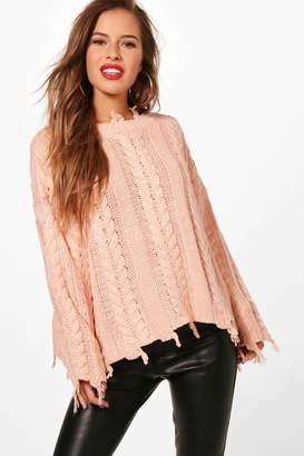 boohoo Petite Taylor Distressed Cable Cropped Jumper