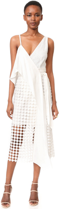 Diane von Furstenberg Asymmetrical Twig Lace Wrap Dress $598 thestylecure.com