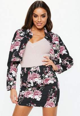 Missguided Black Floral Denim Cropped Jacket Co-Ord