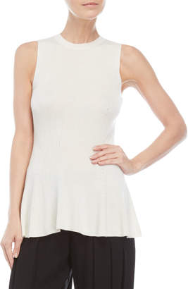 Derek Lam Sleeveless Ribbed Peplum Top