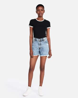 Express High Waisted Raw Hem Vintage Stretch Denim Midi Shorts