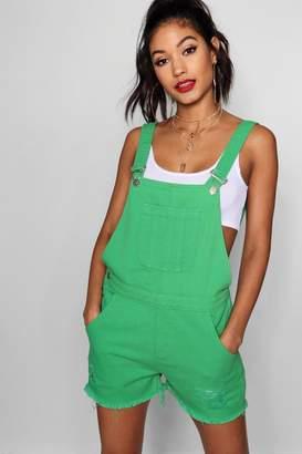 boohoo Green Denim Dungaree Short