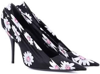 Balenciaga Floral-printed satin pumps