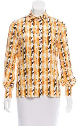 Miu Miu Printed Button-Up Top