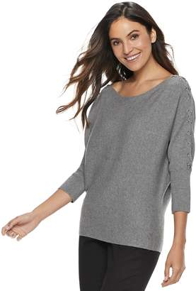 JLO by Jennifer Lopez Women's Lace-Up Boatneck Sweater