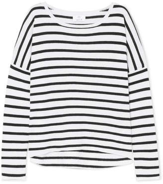 Allude Striped Wool And Cashmere-blend Sweater - Black