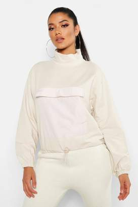 boohoo High Neck Pocket Front Sweat