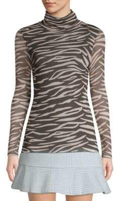 Ganni Tilden Zebra Mesh Turtleneck Top