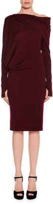 Tom Ford Draped Off-the-Shoulder Knit Dress