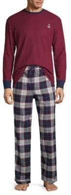 Psycho Bunny Two-Piece Logo Embroidered Long-Sleeve Tee & Plaid Pants Pajama Set