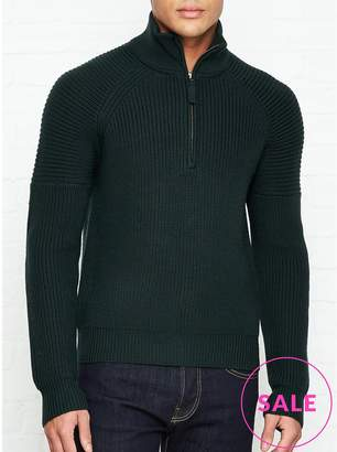 Whistles Zip Through Rib Knitted Jumper