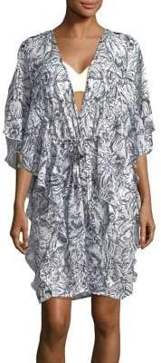 Collection 18 Ruffled Toile Chiffon Coverup