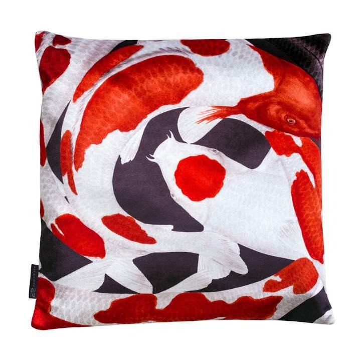 Koi I Style 1 Red & White Velvet Cushion
