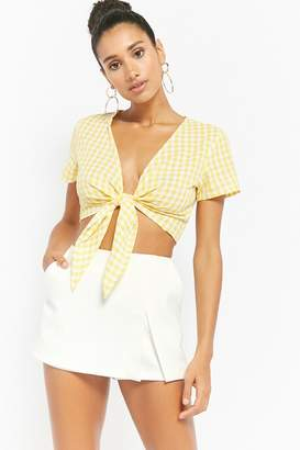 Forever 21 Reverse Gingham Tie-Front Crop Top