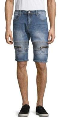 X-RAY Jeans Textured Moto Denim Shorts