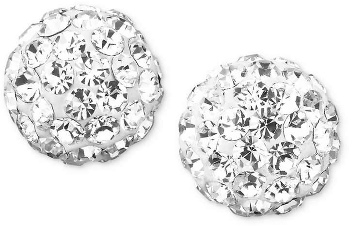 10k Gold Crystal Accent Ball Stud Earrings