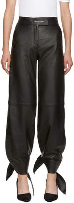 Off-White Off White Black Leather Bow Track Pants