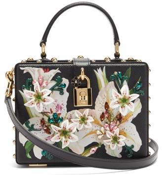 Dolce & Gabbana Flower And Crystal Embellished Leather Box Bag - Womens - Black Multi