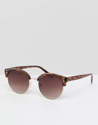 Asos DESIGN retro sunglasses in tort with brown lens
