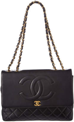 Chanel Black Quilted Lambskin Leather Maxi Single Flap Bag