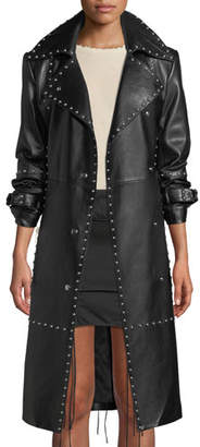 Helmut Lang Studded Leather Long Trench Coat