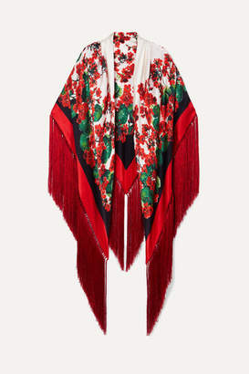 Dolce & Gabbana Fringed Floral-print Silk-blend Satin Wrap - Red