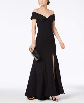 Xscape Evenings Petite Off-The-Shoulder Crepe Gown