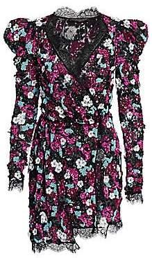 Amen Women's Embroidered Sequin Long Sleeve Dress